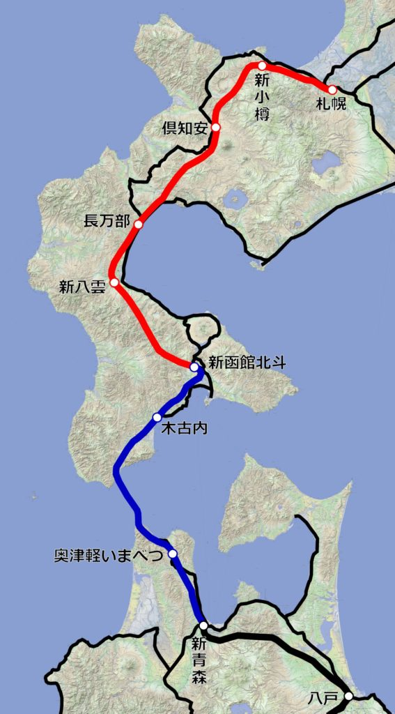 北海道新幹線(札幌以南)の路線図。【作成:運営部(K)/『カシミール3D 地理院地図+スーパー地形』を使用】