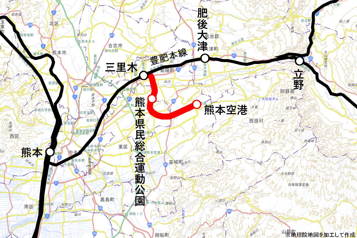 熊本空港アクセス鉄道(路線図)