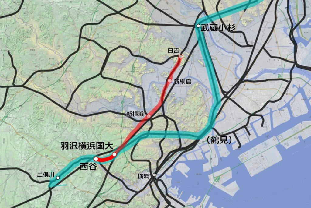相鉄・JR直通線の路線図。相鉄線とJRの貨物線(羽沢線)をつなぐ新線(濃い赤)を建設し、相鉄線と東京都心を直通する列車(薄い緑のルート)を運行する。 【作成:運営部(K)/『カシミール3D 地理院地図+スーパー地形』を使用】