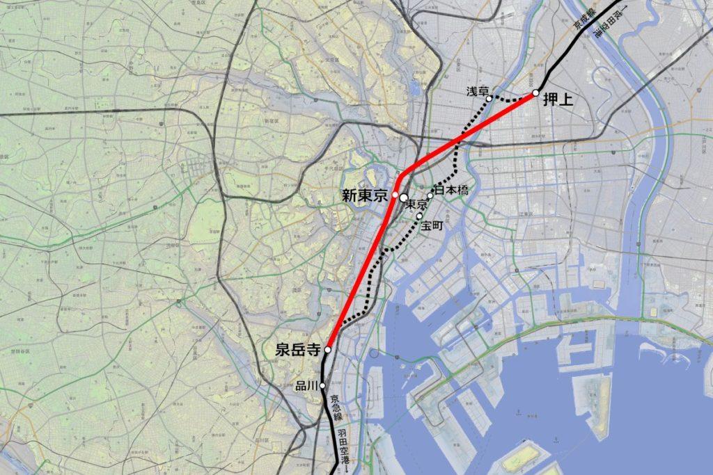 都心直結線のルート(赤)。都営浅草線の押上~泉岳寺間(黒点線)を短絡する。 作成:運営部(K)/『カシミール3D 地理院地図+スーパー地形』を使用】