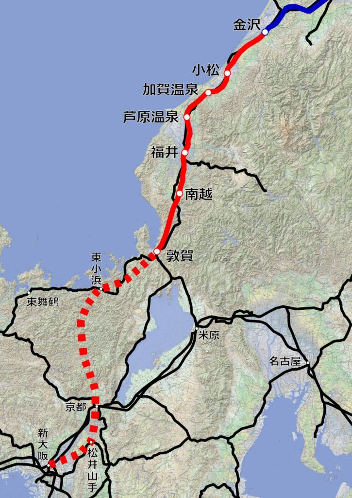 北陸新幹線(金沢以西)の路線図。【作成:運営部(K)/『カシミール3D 地理院地図+スーパー地形』を使用】